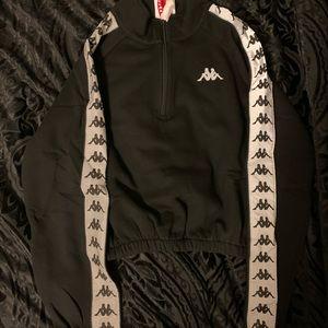 Reflective Black Kappa Cropped Pullover Jacket